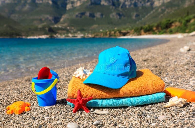 Vacanza di famiglia di estate dal concetto del mare immagini stock