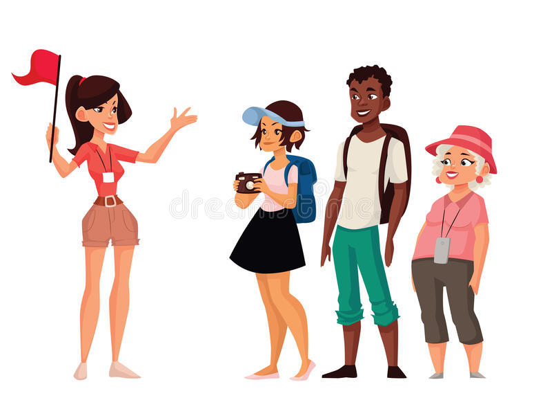 Vacanza di giro con la guida royalty illustrazione gratis