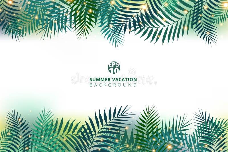 Vacanza di ora legale e foglie di palma verdi con effetto della luce royalty illustrazione gratis