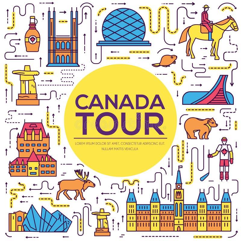 Vacanza di viaggio del Canada del paese infographic del posto e della caratteristica Insieme di architettura, modo, la gente, ogg illustrazione di stock