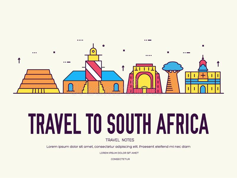 Vacanza di viaggio del Sudafrica del paese del posto e della caratteristica Insieme di architettura, oggetto, concetto del fondo  illustrazione di stock