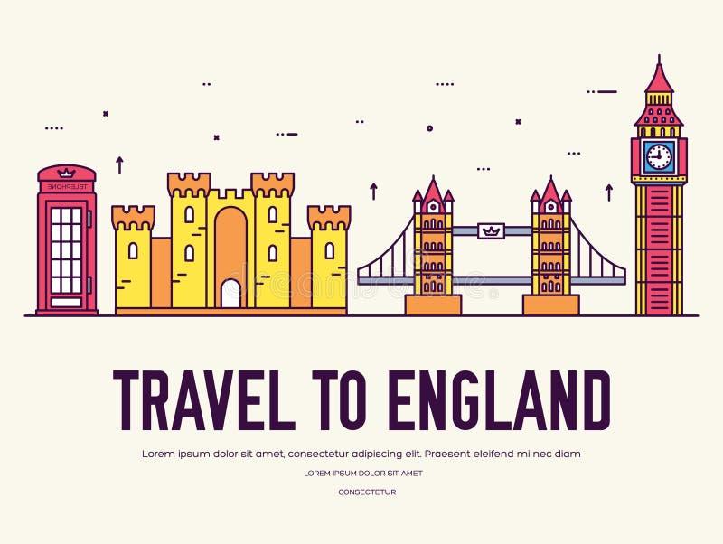 Vacanza di viaggio dell'Inghilterra del paese del posto e della caratteristica Insieme di architettura, oggetto, concetto del fon illustrazione vettoriale
