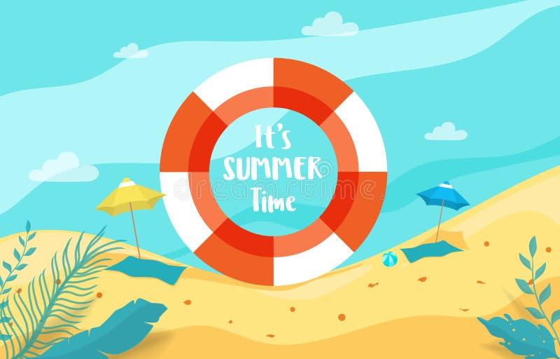 Vacanza estiva con la vista del mare di scena della spiaggia dentro l'anello di gomma Vacanza di estate illustrazione di stock