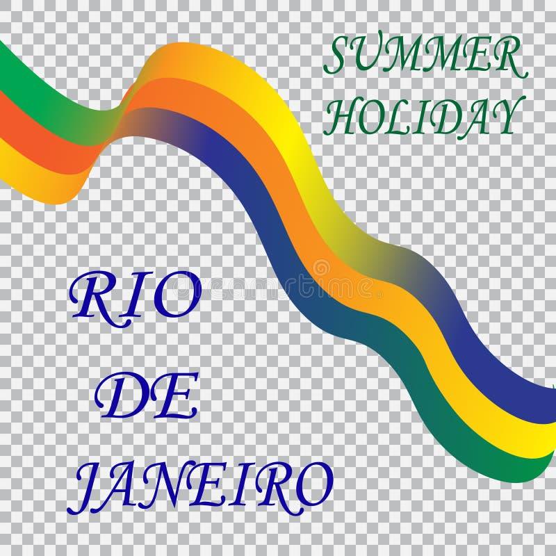 Vacanza estiva di Rio de Janeiro dell'iscrizione Nastro su un fondo a quadretti, colori della bandiera brasiliana, carnevale del  illustrazione vettoriale
