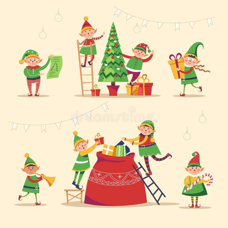 Vacanza invernale di Natale, elfi che si preparano per la festa royalty illustrazione gratis