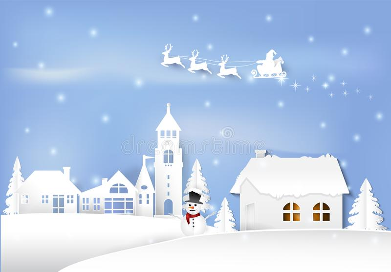 Vacanza invernale Santa e pupazzo di neve nel backgroun del cielo blu della città della città royalty illustrazione gratis