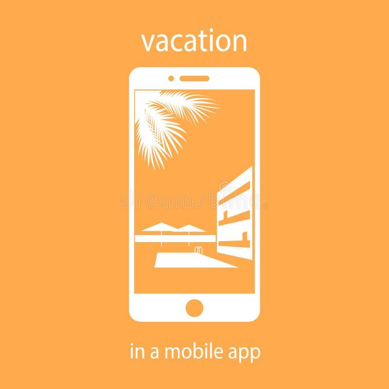 Vacanza nell'applicazione mobile selezione dell'hotel immagini stock