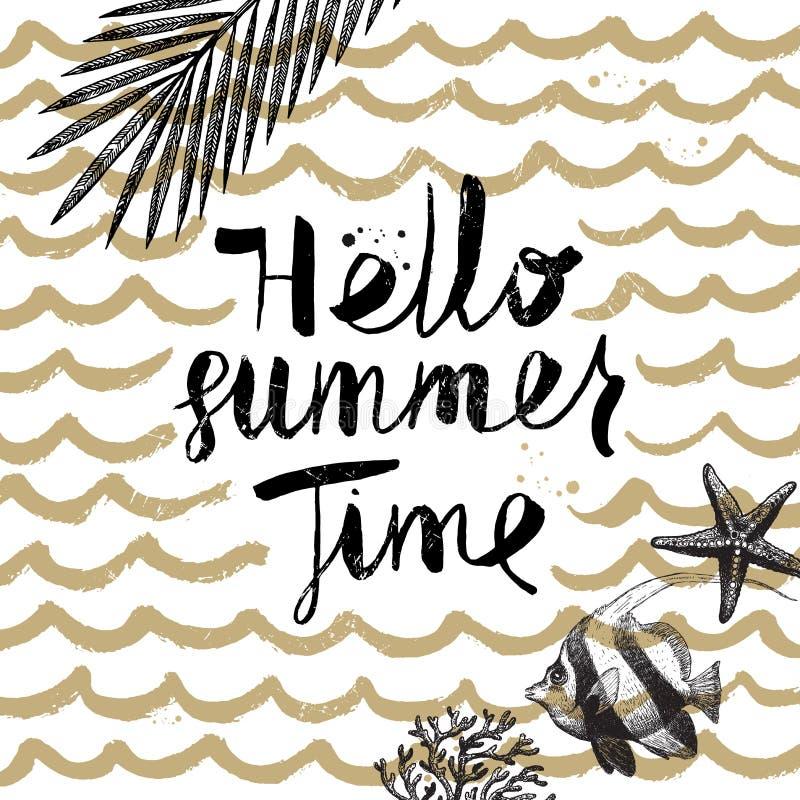 Vacanze estive ed illustrazione disegnata a mano di vacanza