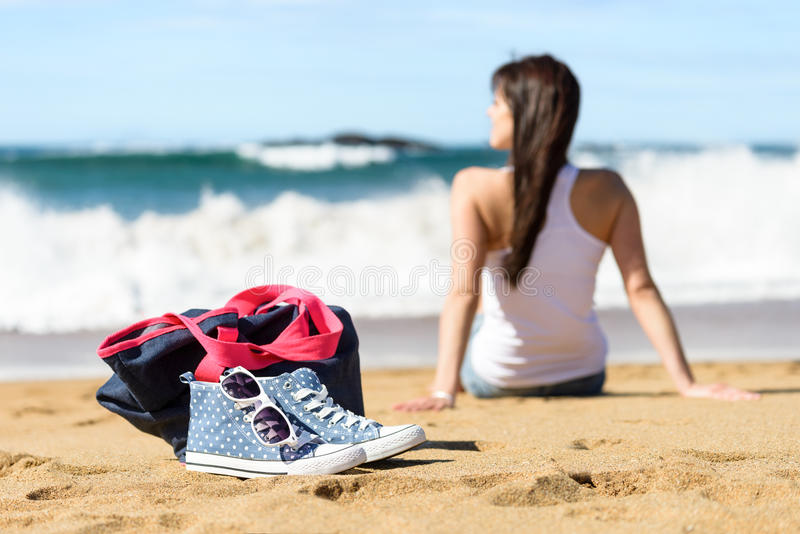 Vacanze estive sul concetto della spiaggia fotografie stock