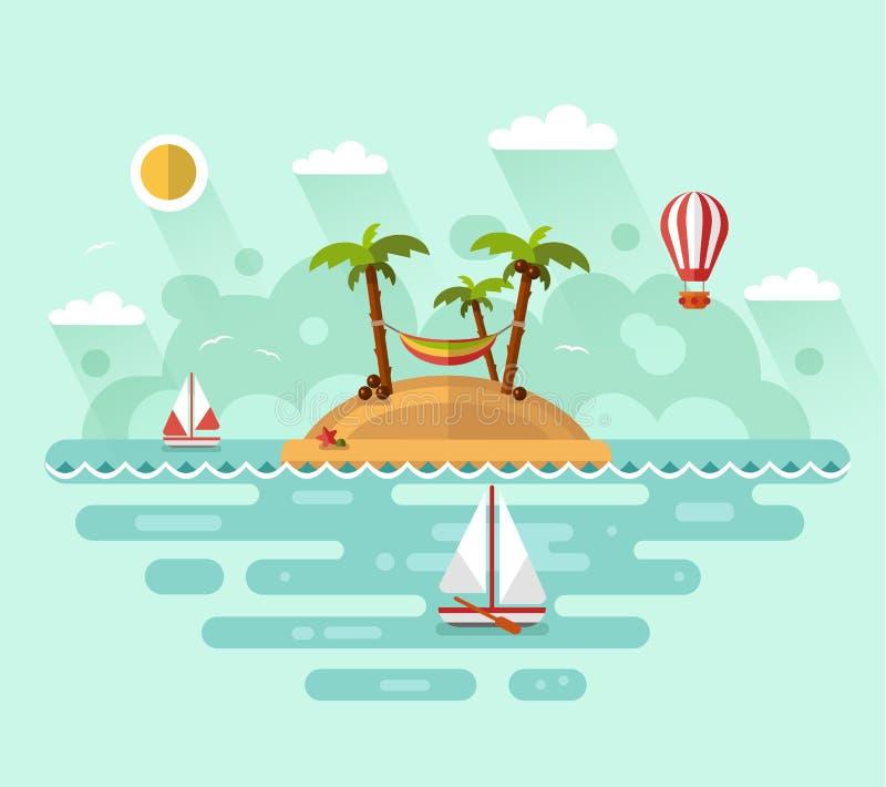Vacanze estive sull'isola tropicale royalty illustrazione gratis
