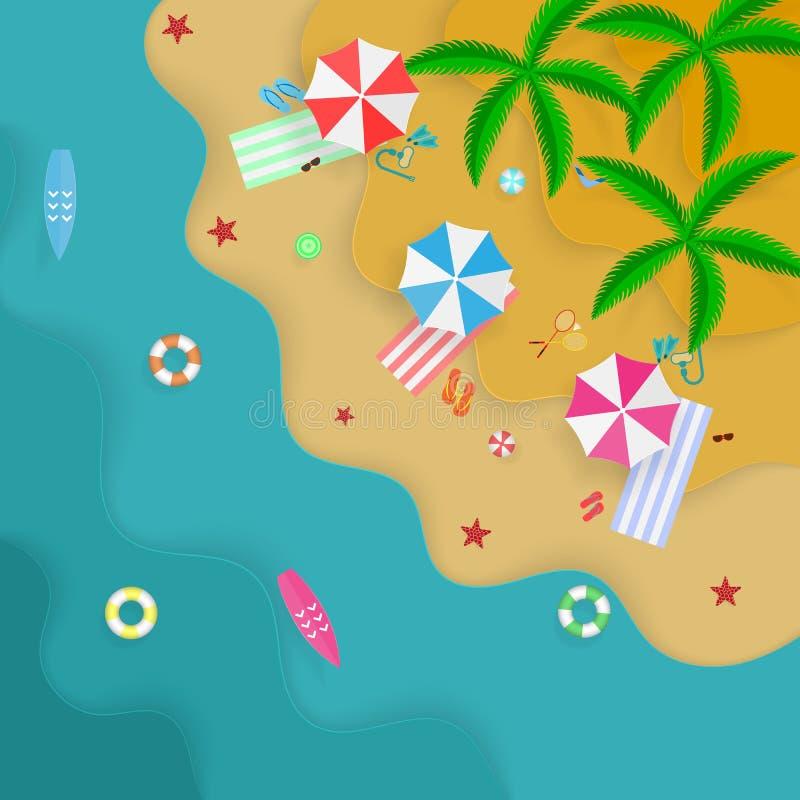 Vacanze estive sulla spiaggia, sulla vista superiore, sull'articolo sportivo per i giochi e sulla ricreazione illustrazione vettoriale
