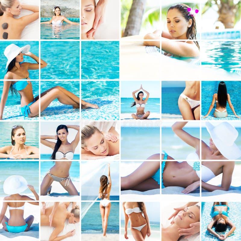 Vacanze estive, viaggiare, ringiovanimento e collage della stazione termale immagini stock libere da diritti