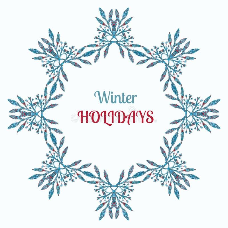 Vacanze invernali corona e decorazione dell'ornamento La progettazione e l'annata della cartolina d'auguri di desiderio di Buon N royalty illustrazione gratis