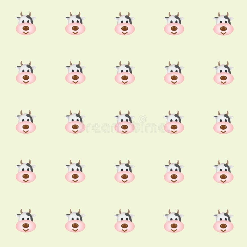 Vacas de leite de Cutie com fundo verde ilustração do vetor