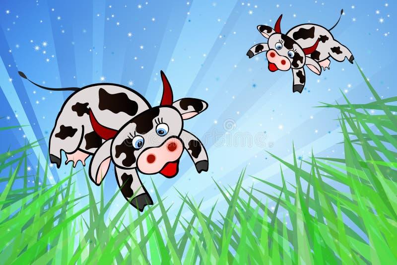 Vacas do vôo e bandeiras internacionais ilustração do vetor