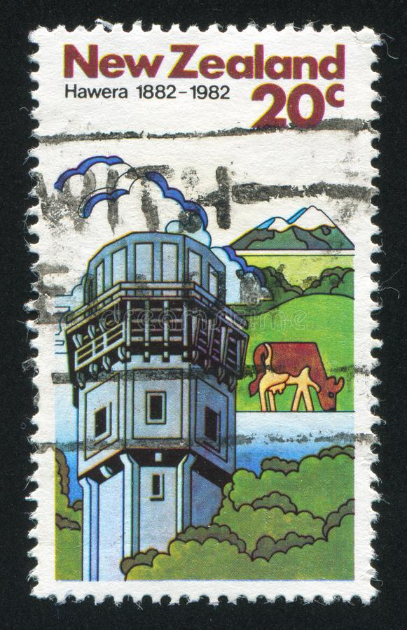 Vacas e fábrica da leiteria em Hawera imagem de stock