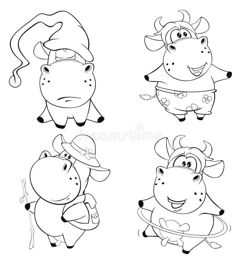 Vacas felizes Clipart cartoon Livro de coloração ilustração royalty free