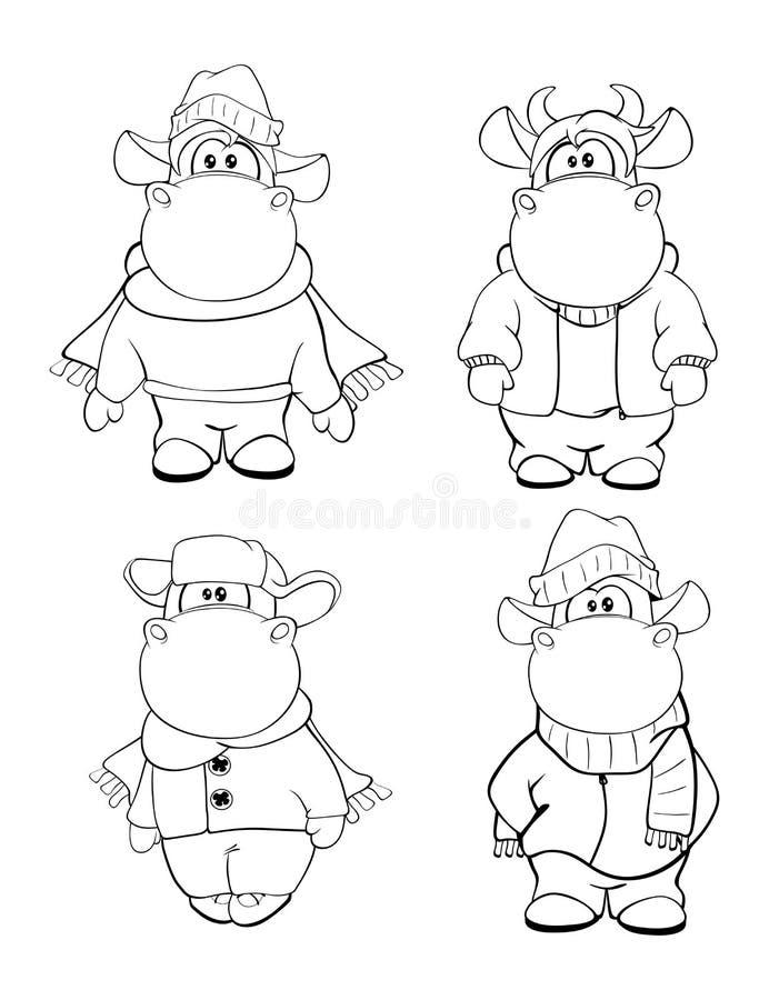 Vacas felizes Clipart cartoon Livro de coloração ilustração do vetor