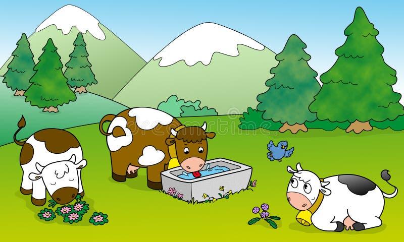 Vacas lindas, ilustración para los cabritos libre illustration