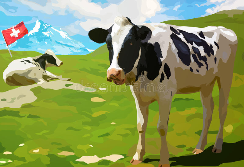 Vacas no prado da montanha ilustração do vetor