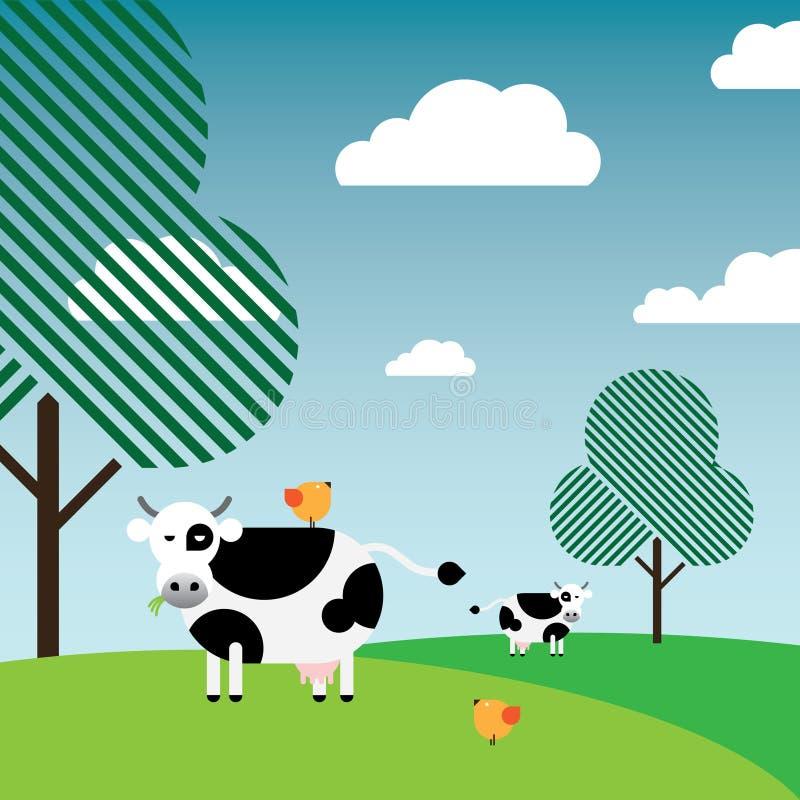 Vacas preto e branco que pastam no pasto ilustração stock