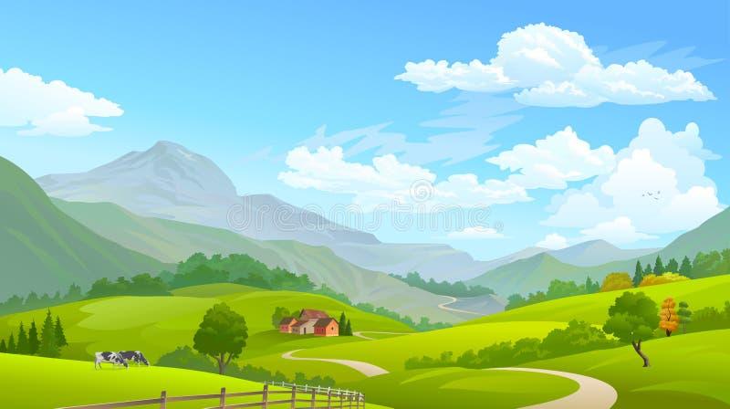 Vacas que pastan en campos verdes con las montañas enormes en la distancia libre illustration