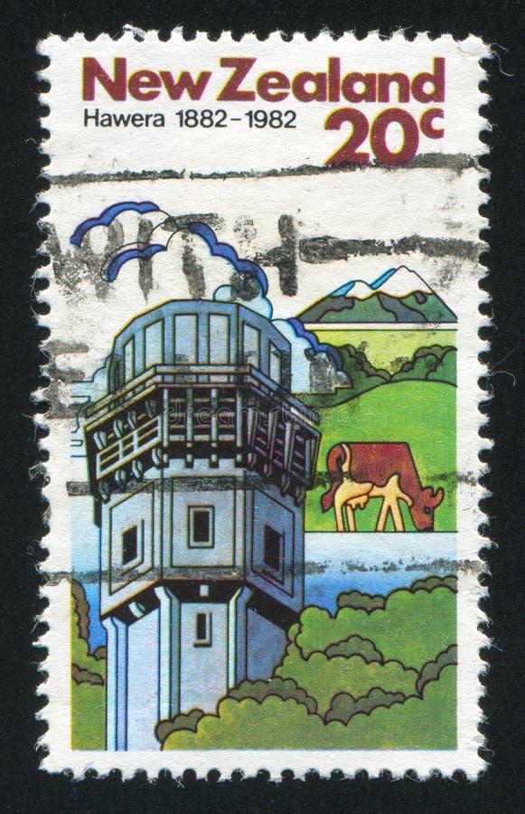 Vacas y fábrica de la lechería en Hawera imagen de archivo