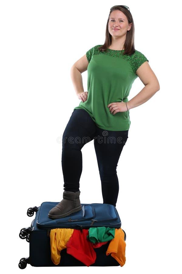 Vacati de viagem do curso da jovem mulher do saco da bagagem da mala de viagem da embalagem fotografia de stock royalty free