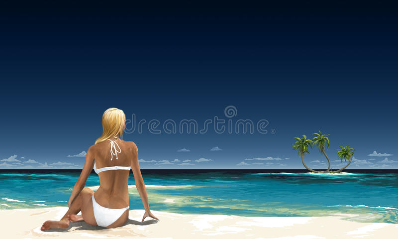 Vacation. A digital painting of a blond woman in a white bikini sitting on the beach of a tropical paradise and looking towards a small tropical island with palm