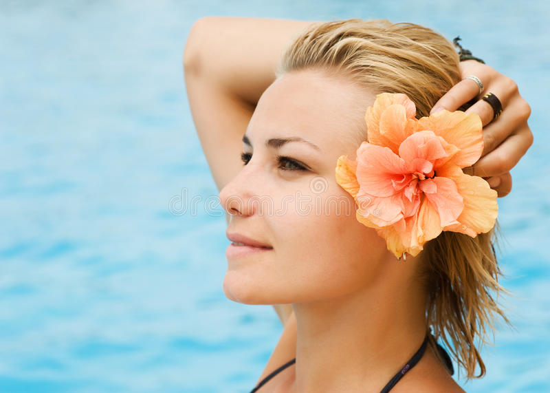 Vacation. Beautiful Young Woman on the tropical beach royalty free stock photos
