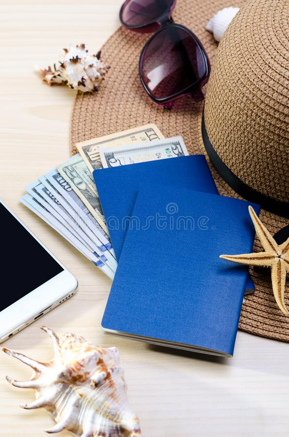 Summer Vacation accessories, documents, passports and money. Good for touristic service. Vacation accessories, documents, passports and money. Good for touristic royalty free stock image