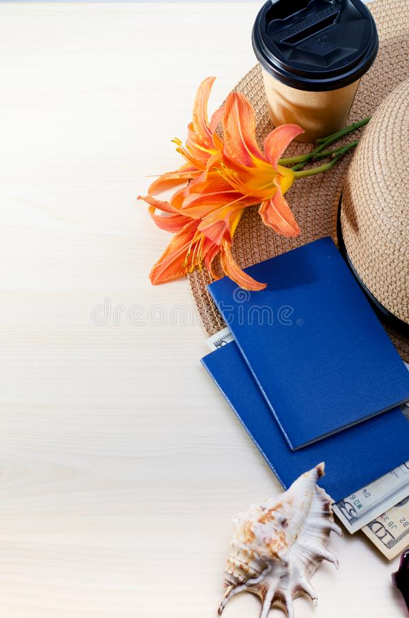 Summer Vacation accessories, documents, passports and money. Good for touristic service. Vacation accessories, documents, passports and money. Good for touristic stock photos