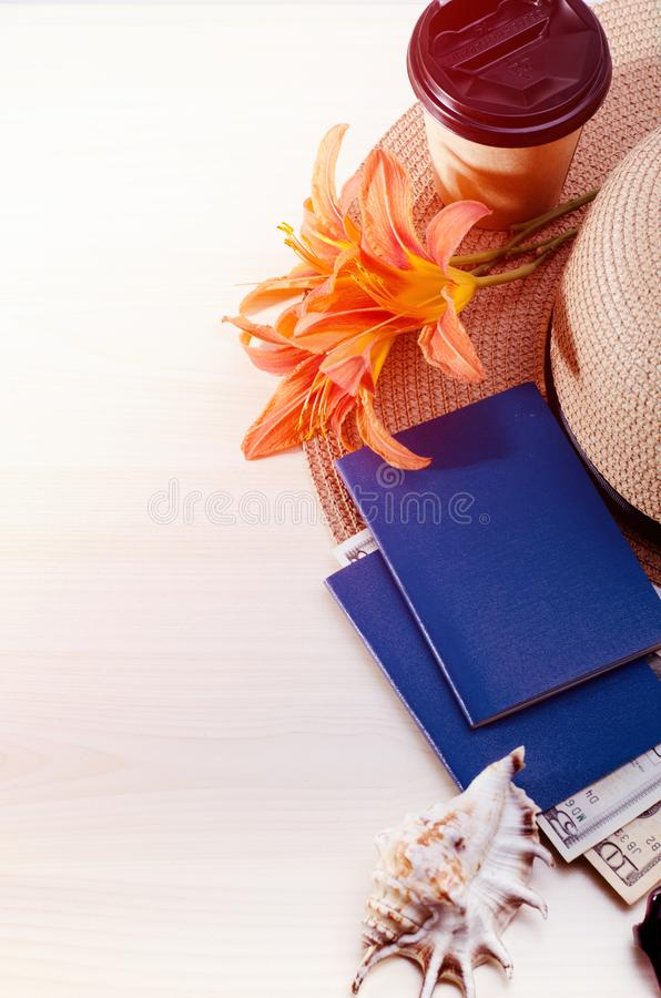 Summer Vacation accessories, documents, passports and money. Good for touristic service. Vacation accessories, documents, passports and money. Good for touristic royalty free stock photos