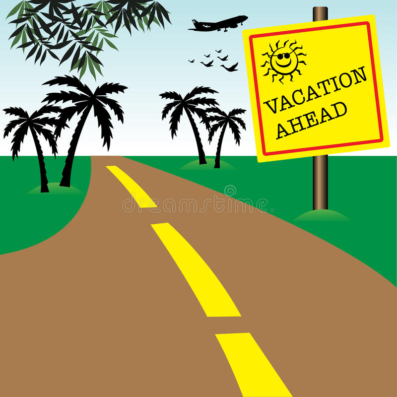 Vacation ahead. Abstract colorful illustration with a yellow plate on a roadside with the text vacation ahead. Vacation concept stock illustration