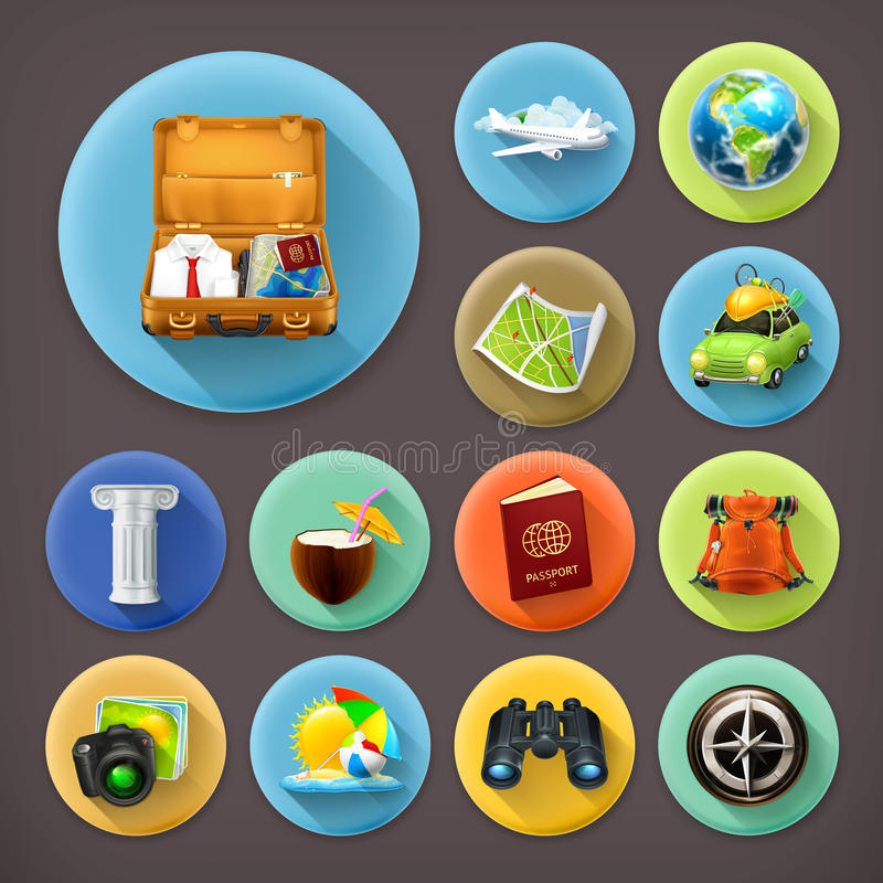 Free Vacation And Travel, Long Shadow Icons Royalty Free Stock Photos - 57246048