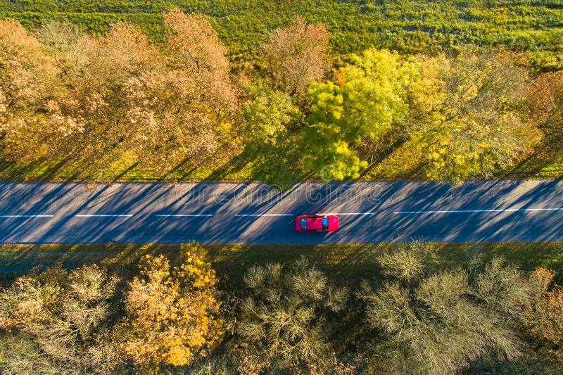 Vacation background. Autumn background. Red car on road from above. royalty free stock photos