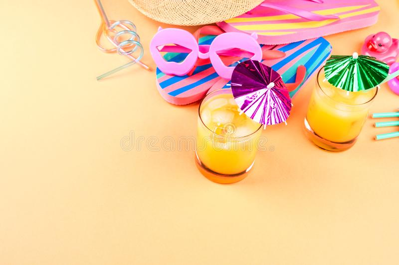 Vacation on the beach concept with summer cocktail stock photo