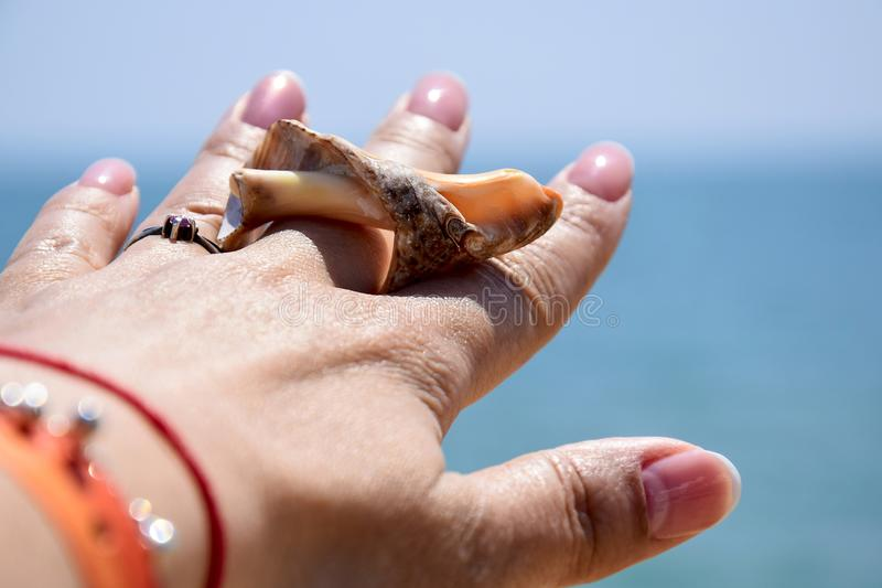Vacation, beach holiday, relax:  Female hand with silver ring, bracelets and a shell on a blurred background of blue sea. Close-up royalty free stock photography