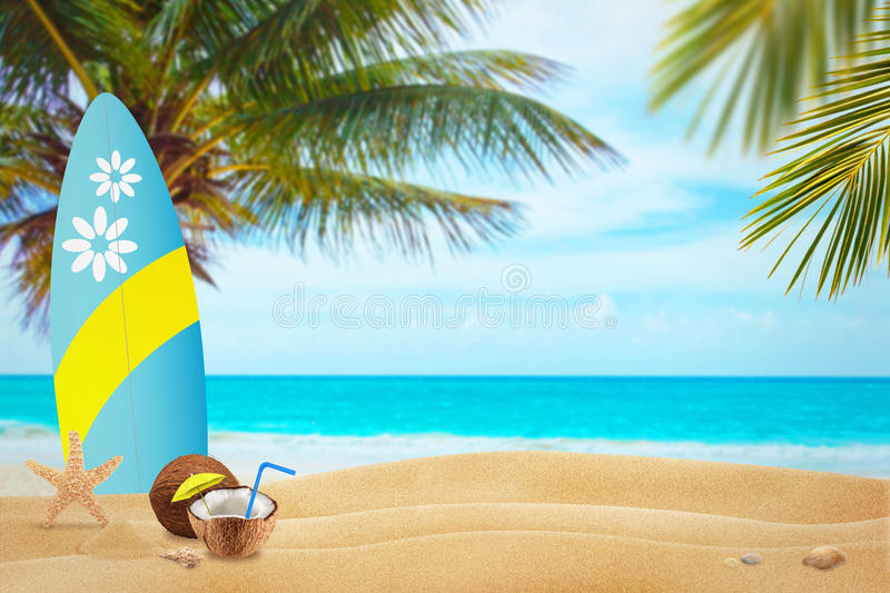 Vacation on beach in the hot summer days.Free space for text.  stock photo