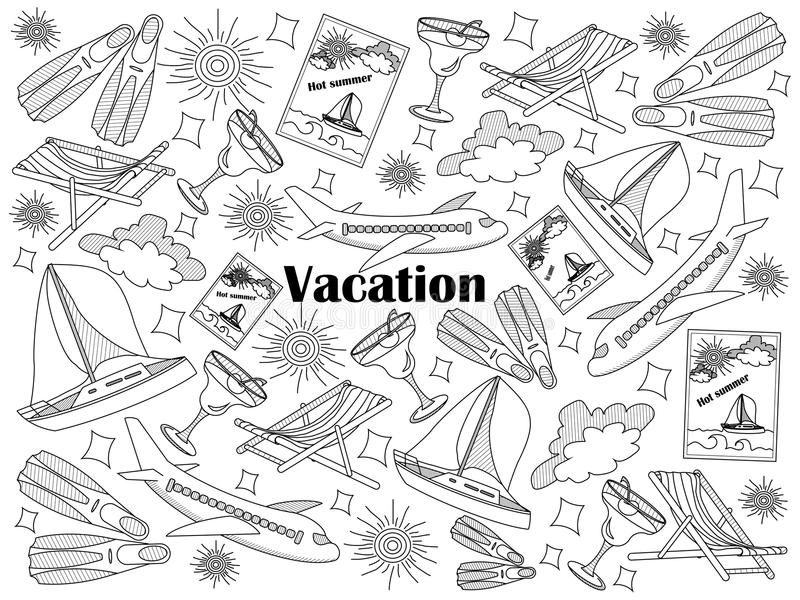 Vacation colorless set vector illustration. Vacation design colorless set vector illustration. Coloring book. Black and white line art vector illustration