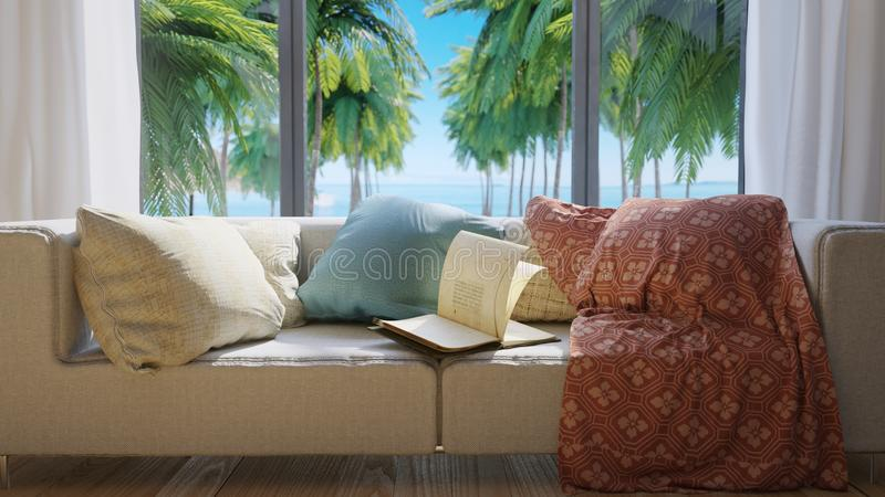 Vacation concept background with interior elements,palms and open book royalty free stock images