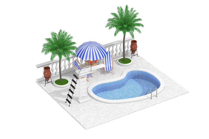 Vacation Concept. Isometric Water Pool, Mini Bar and Palms. 3d Rendering. Vacation Concept. Isometric Water Pool, Mini Bar and Palms on a white background. 3d stock illustration