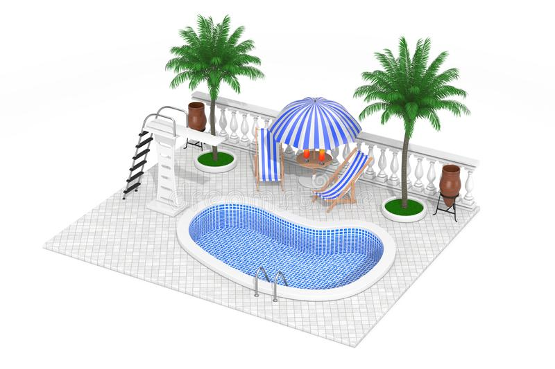 Vacation Concept. Isometric Water Pool, Mini Bar and Palms. 3d Rendering. Vacation Concept. Isometric Water Pool, Mini Bar and Palms on a white background. 3d vector illustration