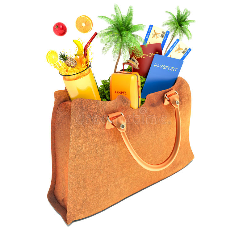 Vacation concept. lady's bag and palm trees with fruit and juice royalty free illustration