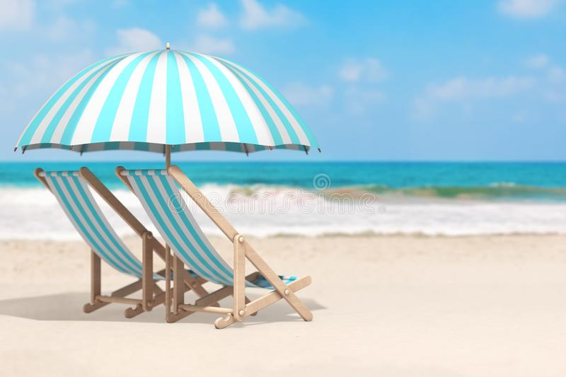 Vacation Concept. Pair of Beach Chair with Umbrella in an Ocean Deserted Coast. 3d Rendering stock images