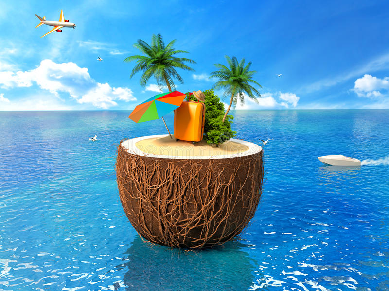 Vacation concept. Palm tree, suitcase and an umbrella vector illustration