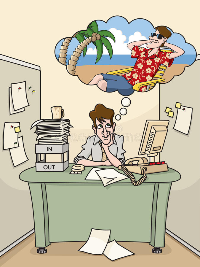 Vacation Daydream. Bored office worker dreams of a tropical vacation vector illustration