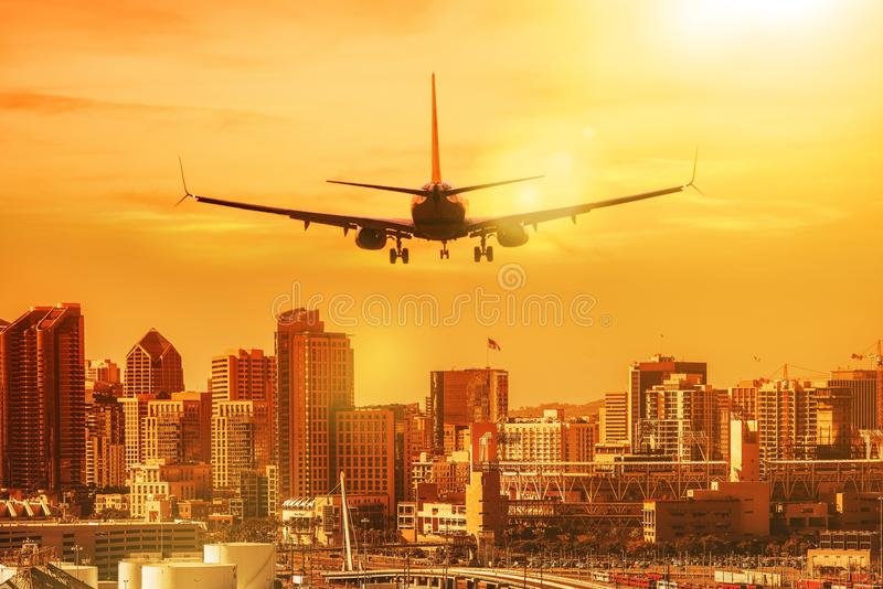 Vacation Destination San Diego. San Diego Vacation Destination. Airplane Preparing to Landing in the San Diego, California, United States royalty free stock photo