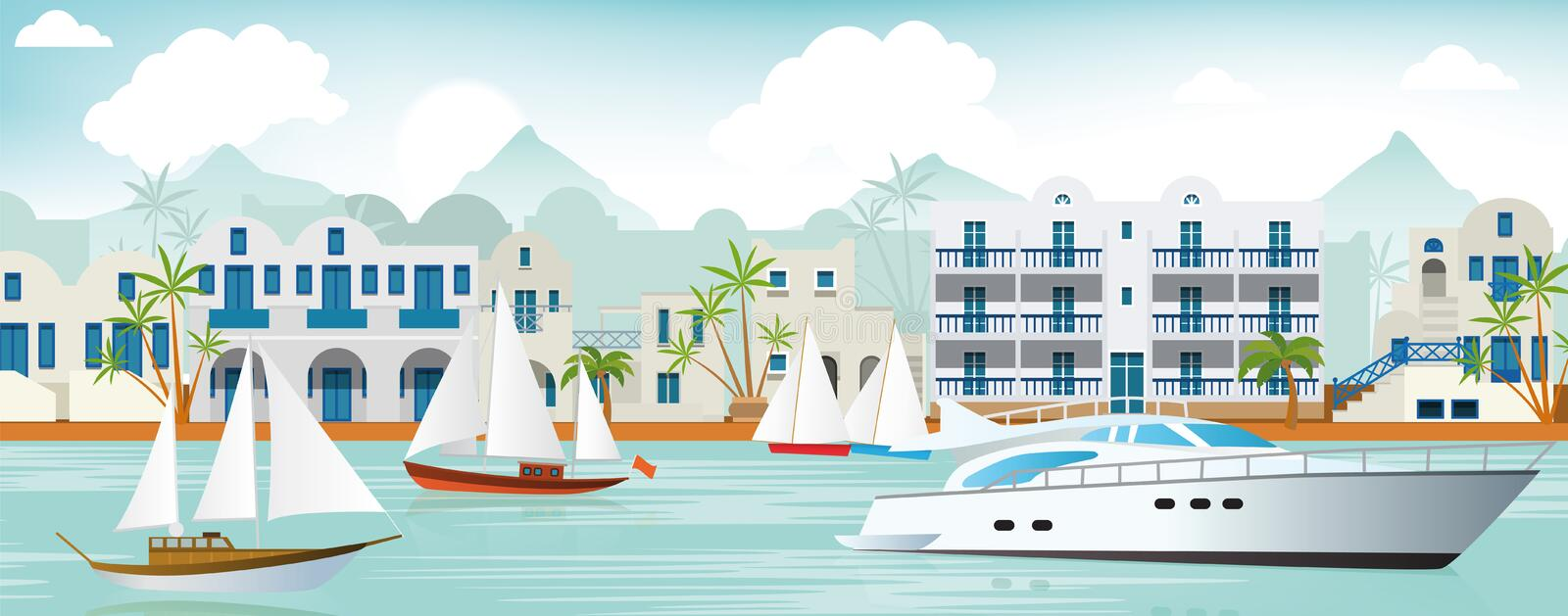Download Vacation in Greece stock vector. Image of resort, illustration - 41438582