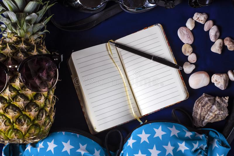Vacation holiday background. Concept vacation holiday beach background, pineapple in glasses, notebook with a pen and space for text in the center, surrounded by royalty free stock image